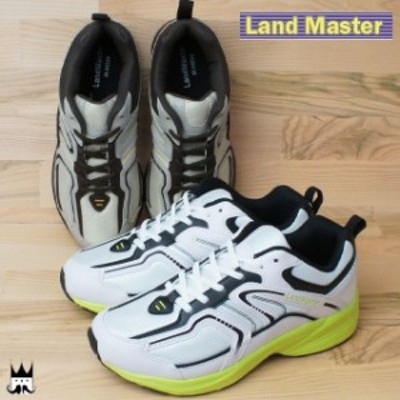 ランドマスター Land Master メンズ スニーカー JM-882 軽作業靴 運動靴 軽量 サンド 白/イエローグリーン
