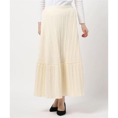 スカート フェイクウール切り替えプリーツスカート