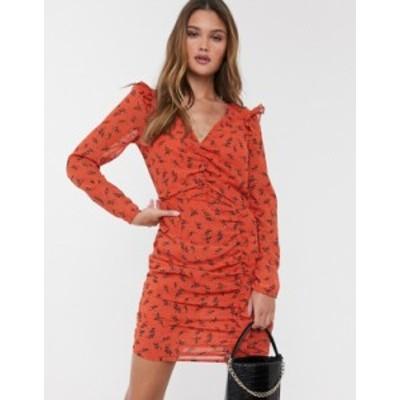 リバーアイランド レディース ワンピース トップス River Island mini dress with ruched sleeves in red floral print Rust print