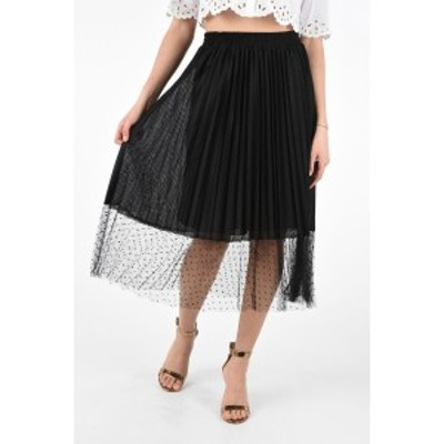 RED VALENTINO/レッド ヴァレンティノ Black レディース Jersey Accordion Skirt with Polka Dots Tulle Detail On the B dk
