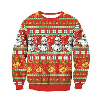 女性クリスマスプリントクルーネックプルオーバースウェットロングスリーブディアスノーフレークプリントクリスマスアグリーセーター(s2111133390)