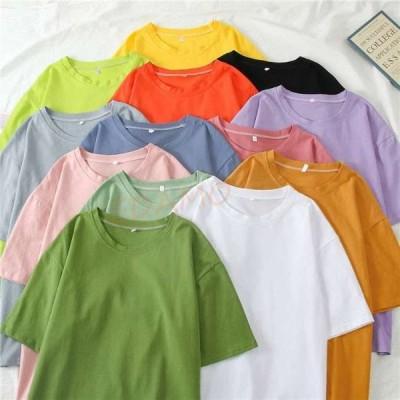 Tシャツ 無地 レディース 半袖Tシャツ サマーTシャツ クルーネック 無地Tシャツ カットソー 夏Tシャツ カジュアル カラバリ