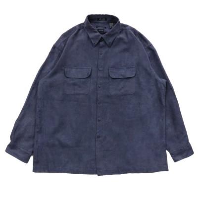 VAN HEUSEN バンヒューセン フェイクスウェード ボックスシャツ 長袖 ネイビー サイズ表記:XL