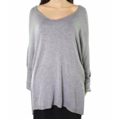 ファッション トップス RDI NEW Gray Womens Size 1X Plus V-Neck Dolman Rib Sleeve Sweater