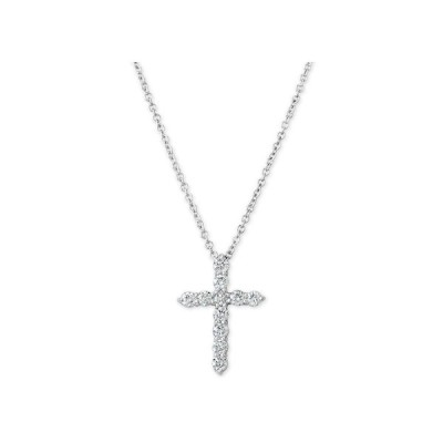 """メイシーズ Macy's メンズ ネックレス Diamond Cross Pendant Necklace (1/3 ct. t.w.) in 14k White Gold16"""" + 2"""" Extender White Gold"""