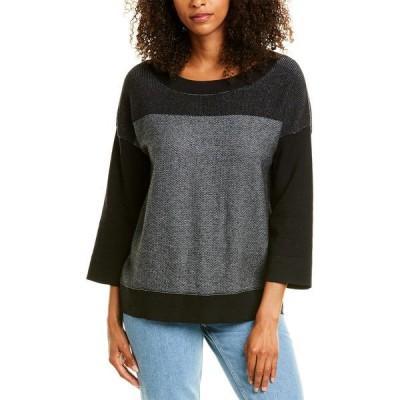 フォートカシミア シャツ トップス レディース Forte Cashmere Plaited Cashmere-Blend Pullover black & granite