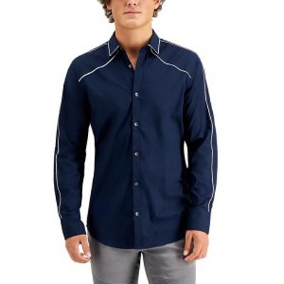 アイエヌシーインターナショナルコンセプト メンズ シャツ トップス INC Men's Piped Shirt, Created for Macy's Basic Navy