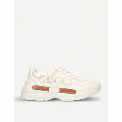 グッチ GUCCI レディース スニーカー シューズ・靴 Rhyton logo-print leather trainers WHITE
