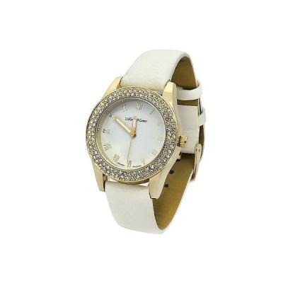 腕時計 アメリカン ジュエリー ヒップホップ Ladies Gold Plated White Fashion Leather Band  Quartz Wrist Watch Mark Naime