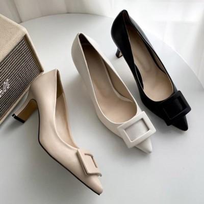 パンプス ポインテッドトゥ モチーフ プレートヒール ハイヒール レディース 黒 白 ブラック ホワイト ベージュ 靴 婦人靴 歩きやすい 痛くない 結婚式