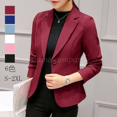 韓国風新作スーツ レディース スーツジャケットショット丈 20代30代40代細身 从春秋事務服 フォーマル 面接 制服OL ビジネス 通勤 上着6色