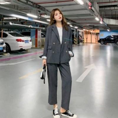 スーツ パンツスーツ 大きいサイズ Wジャケット ワイドレッグパンツ 無地 カジュアル ディース
