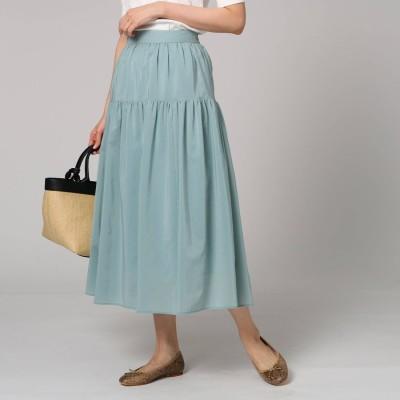 アンタイトル UNTITLED 【洗える】ボイルストレッチスカート (ライトグリーン)