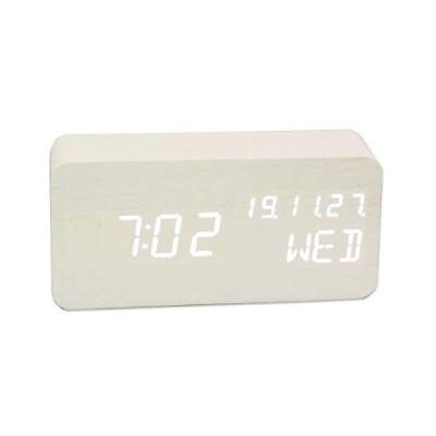 置き時計 時計 おしゃれ カレンダー 卓上 時計 置時計 人気 目覚まし時計 音感センサー 省エネ USB/乾電池給電 ?