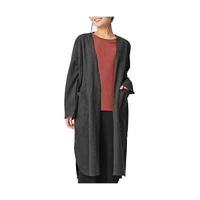 (JANJAMCOLLECTION]大きいサイズ レディース ロングガウン コーディガン 長袖 ロング丈 ポケット (チャコール 3L)