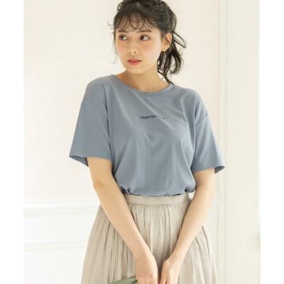 刺繍ロゴバックスリットTシャツ (ブルー)
