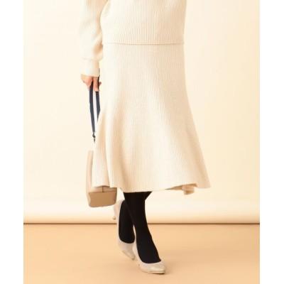S size ONWARD(小さいサイズ)/エスサイズオンワード 【洗える】マーメイドニット スカート アイボリー 0