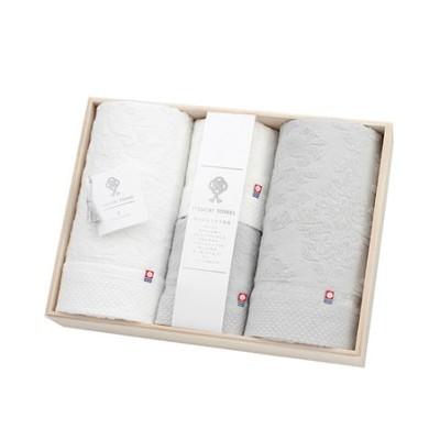 【今治タオル】逸織タオル 《葛》 バスタオル 2枚(ホワイト・グレー)、フェイスタオル 2枚(ホワイト ・グレー)セット