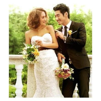 高級エンパイアラインロングウェディングドレスパーティー結婚式プリンセス花嫁マーメイド二次会ドレスカラードレス披露宴
