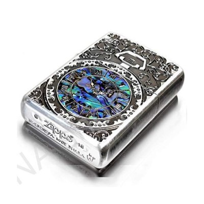 Zippo Armor Case Watch Arabesque Shell Inlay Both Sides Etching Silver Japan Limited(並行輸入品)