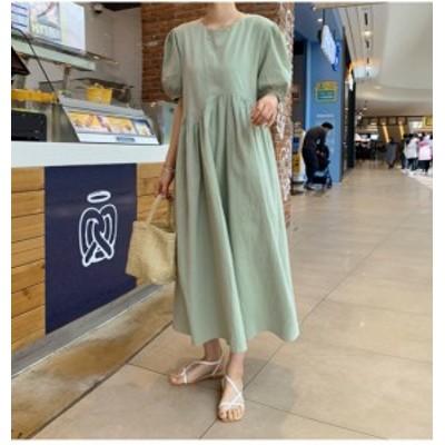 40代のファッションレディース 大きいサイズレディースワンピース ワンピース ロング 五分袖ゆったりサイズ 韓国 K0193