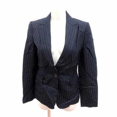 【中古】ユナイテッドアローズ ジャケット テーラード 総裏地 ストライプ ウール 絹混 シルク混 38 紺 レディース