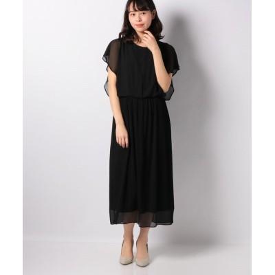 【インタープラネット】 シフォンプリーツドレス レディース ブラック 002 INTERPLANET
