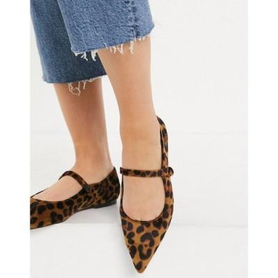 エイソス ASOS DESIGN レディース スリッポン・フラット シューズ・靴 Lacyie mary jane pointed velvet ballet flats in leopard