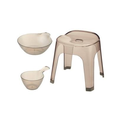 リッチェル Richell リュクレ LUXRE お風呂 3点セット ブラウン ( 腰かけ 35H / 手おけ / 湯おけ )バスチェア 洗面器 福袋