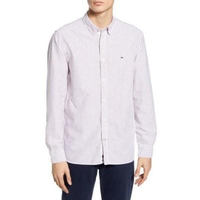 トミー ヒルフィガー メンズ シャツ トップス Slim Fit Stripe Organic Oxford Button-Down Shirt 0DM-BRIGHT VERM