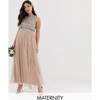 マヤ マタニティ Maya Maternity レディース パーティードレス Bridesmaid sleeveless midaxi tulle dress with tonal delicate sequin overlay in taupe blush