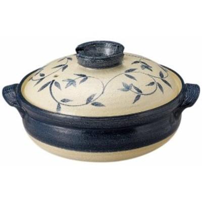 萬古焼 土鍋 (深鍋) 8号 2-3人用 呉須唐草 13685