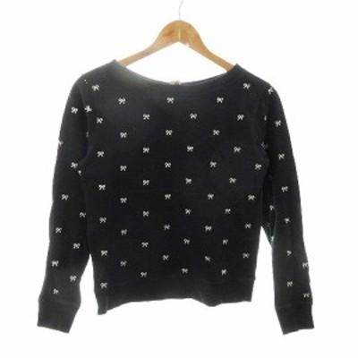 【中古】ビームスボーイ BEAMS BOY ENJOY LIFE Tシャツ カットソー 長袖 刺繍 BOY 黒 ブラック /CK レディース