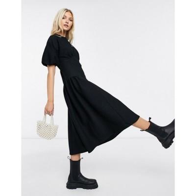 エイソス レディース ワンピース トップス ASOS DESIGN textured midi smock with curve waist seam detail in black