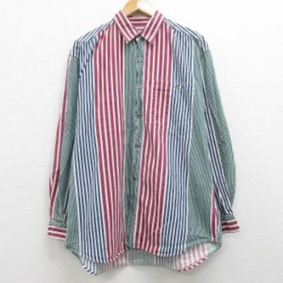 古着 長袖 シャツ 90年代 90s コットン エンジ他 ストライプ XLサイズ 中古 メンズ トップス シャツ トップス 古着