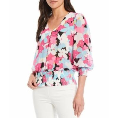 カルバンクライン レディース シャツ トップス Floral Print Chiffon V-Neck 3/4 Blouson Sleeve Peplum Blouse Flamingo Multi