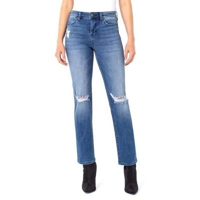 リバプール レディース デニムパンツ ボトムス Sadie Straight Jeans with Destruct in Tellico