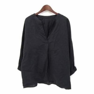 【中古】グローブ grove シャツ ブラウス L 黒 ブラック コットン 長袖 無地 シンプル スキッパー ドルマン 768-87021 レディース