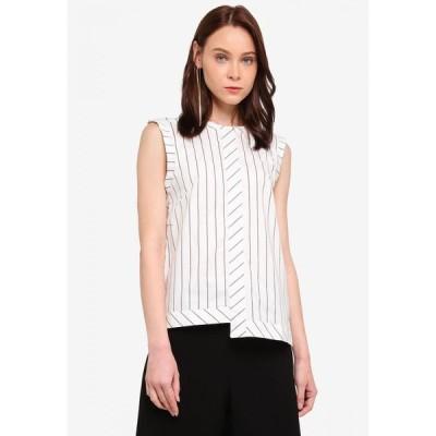 スリーザレーベル 3thelabel レディース ノースリーブ トップス Eva White Striped Sleeveless Top White