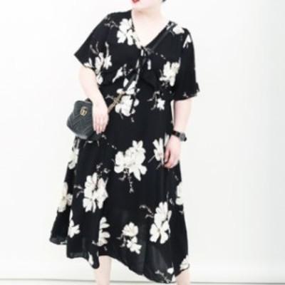 ワンピース ロング 花柄 シフォン Vネック フリル 大きめサイズ 大人可愛い お出かけ