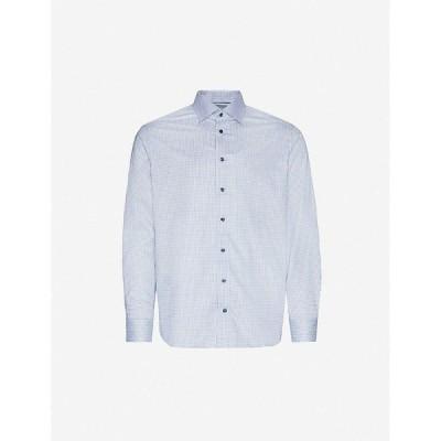 イートン ETON メンズ シャツ トップス Check contemporary-fit cotton shirt Blue
