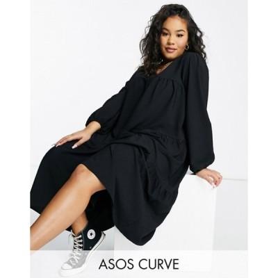 エイソス レディース ワンピース トップス ASOS DESIGN Curve seersucker tiered midi smock dress in black