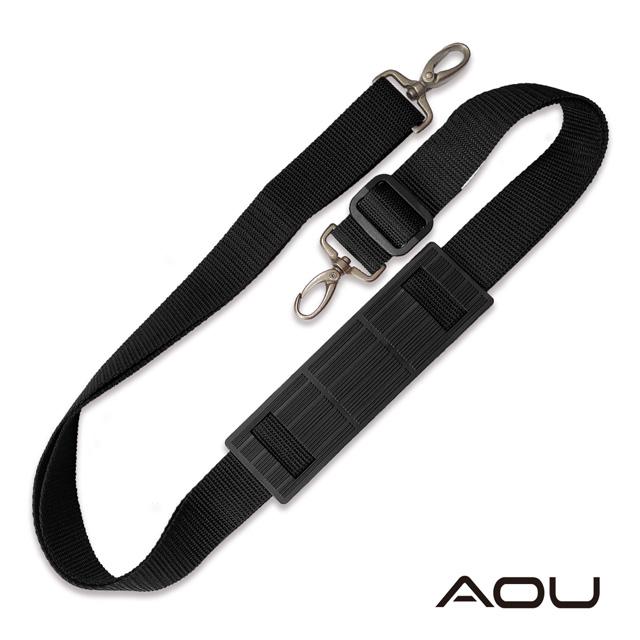 AOU 台灣製 輕量活動式強化耐重背帶 側背帶 公事包背帶 尼龍背帶有肩片(黑色)03-031D1