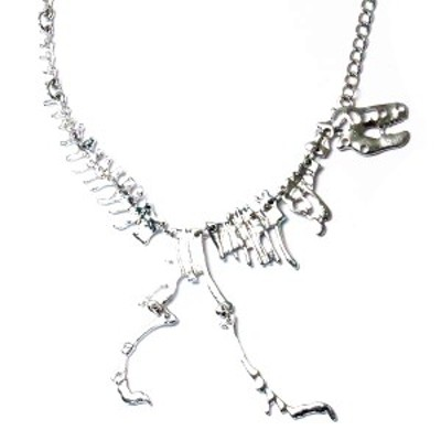 ティラノサウルス レックス T.rex ジュラシック 化石風 スケルトン メンズ ネックレス 【ゴールド/シルバー/ブラック】