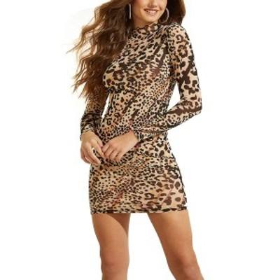 ゲス レディース ワンピース トップス Nadine Sheer Printed Bodycon Dress Earthy Sky Leopard Print