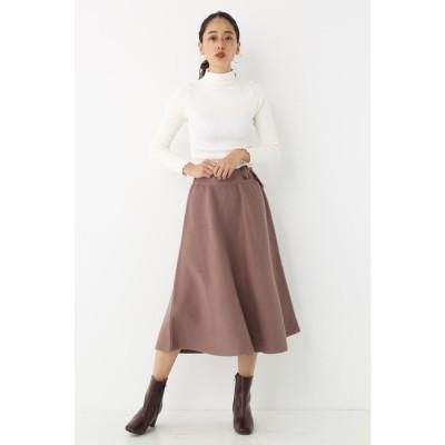 Belted Knit Flare Skirt BRN