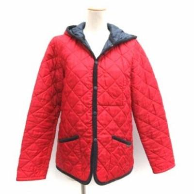 【中古】ラベンハム LAVENHAM 40 L キルティングジャケット 中綿 アウター フード 赤 レッド /TK ●D レディース