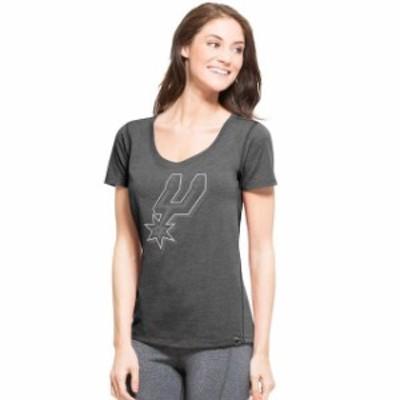 47 フォーティーセブン スポーツ用品  47 San Antonio Spurs Womens Gray Shift High Point Ribbed T-Shirt