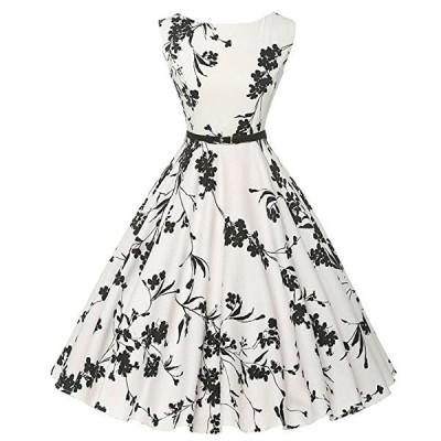 ダッパー ドレス オールディーズ 衣装 レディース ビンテージ ノースリーブ ワンピース ホワイト&フラワー ダッパーデイ