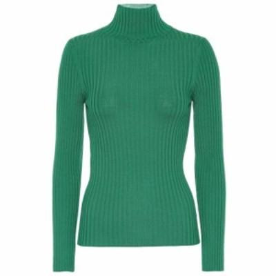 プラン C Plan C レディース ニット・セーター トップス Ribbed wool turtleneck sweater Emerald Green